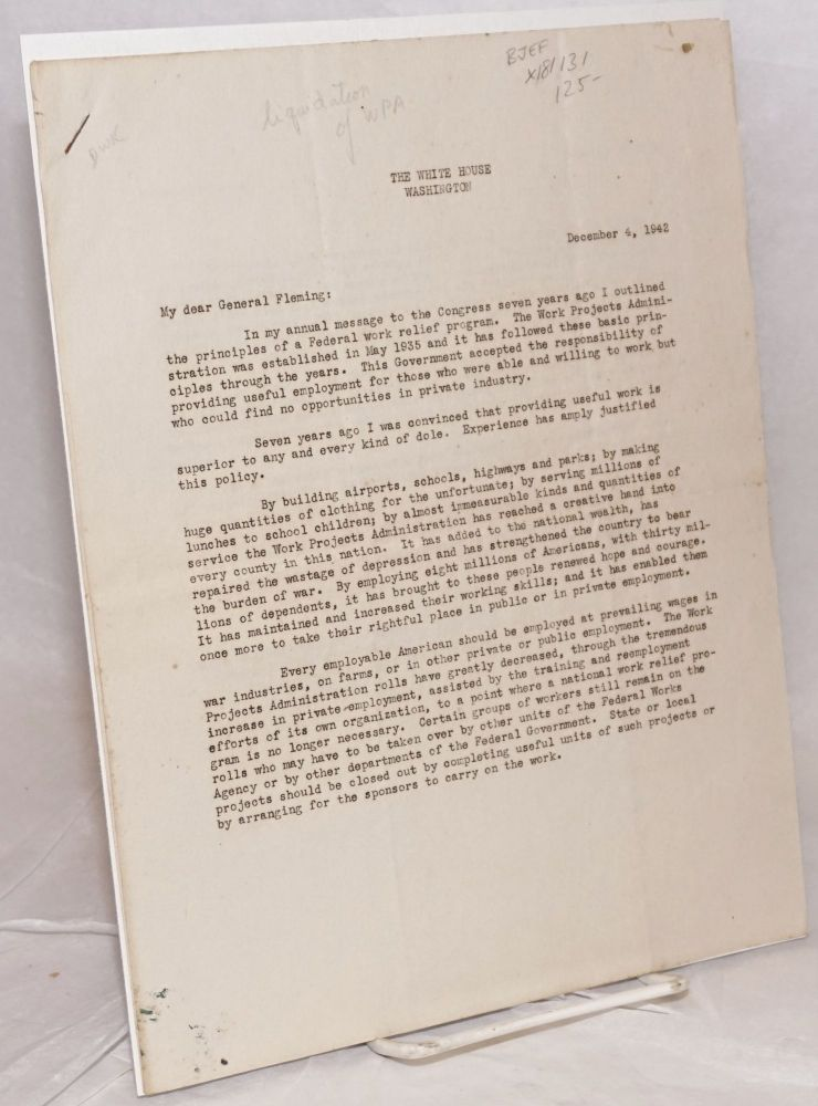 Two-page letter informing the General of the liquidation of the WPA [mimeographed]. Franklin Delano to Major General Philip B. Fleming Roosevelt.