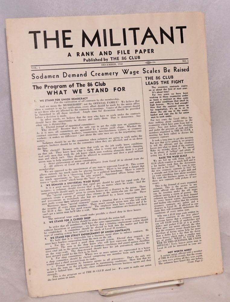 The militant, a rank and file paper. Vol. 1, no. 1, December, 1940. The 86 Club.