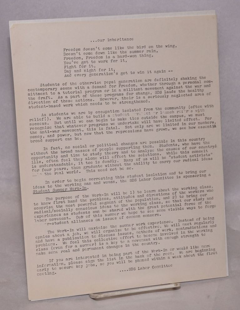 ...Our inheritance [handbill]. Labor Committee Students for a. Democratic Society.