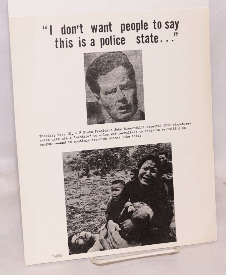 """""""I don't want people to say this is a police state..."""" [handbill]"""