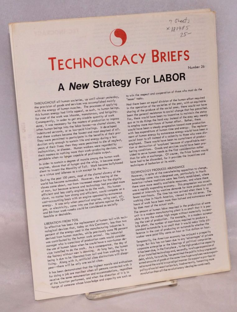Technocracy Briefs. [7 issues]. Technocracy.
