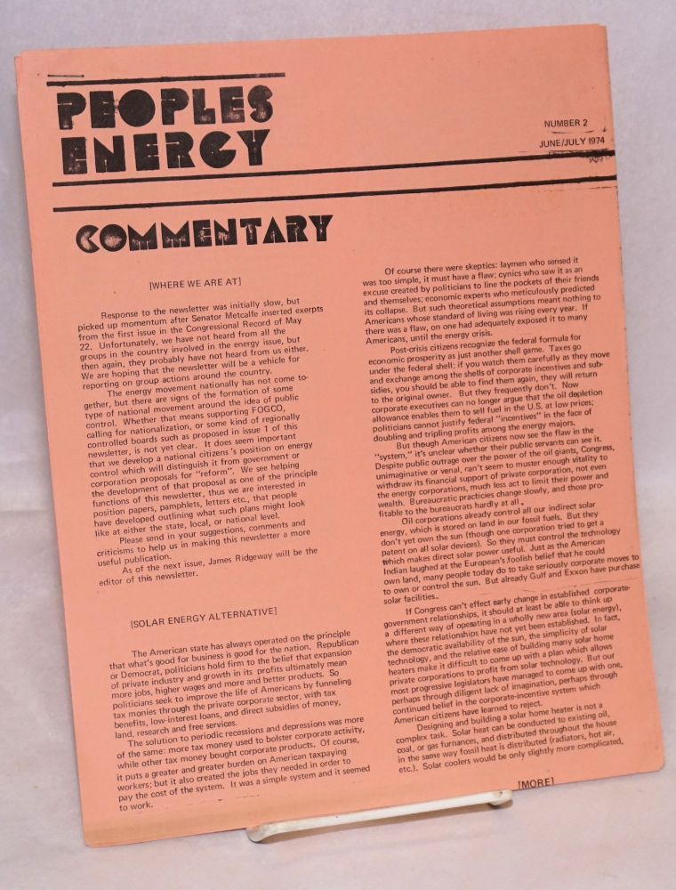 Peoples energy. No. 2 (June/July 1974). Movement for Peoples Power.