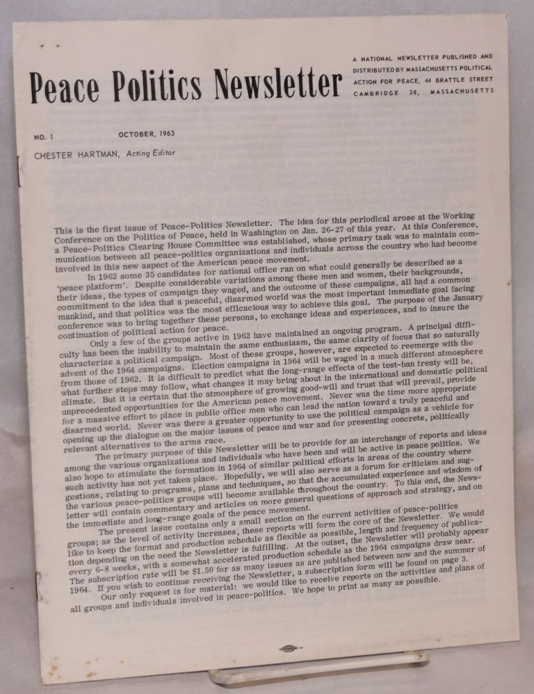 Peace Politics Newsletter no. 1 (Oct. 1963). Chester Hartman.