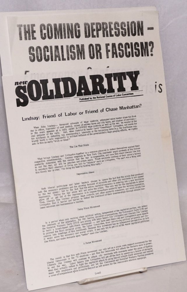 Lindsay: friend of labor of friend of Chase Manhattan? [handbill]. National Caucus of Labor Committees.