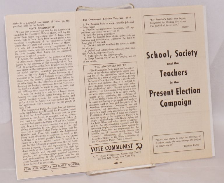 School, society and the teachers in the present election campaign. New York State Committee Communist Party.