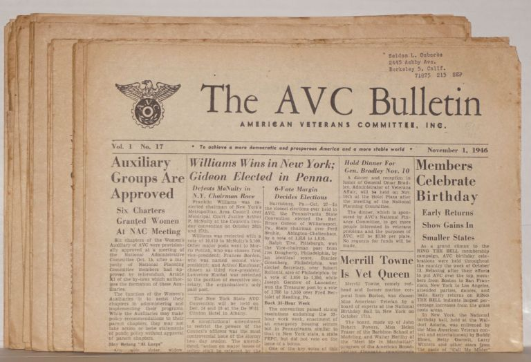 AVC Bulletin [fourteen issues]. American Veterans Committee.