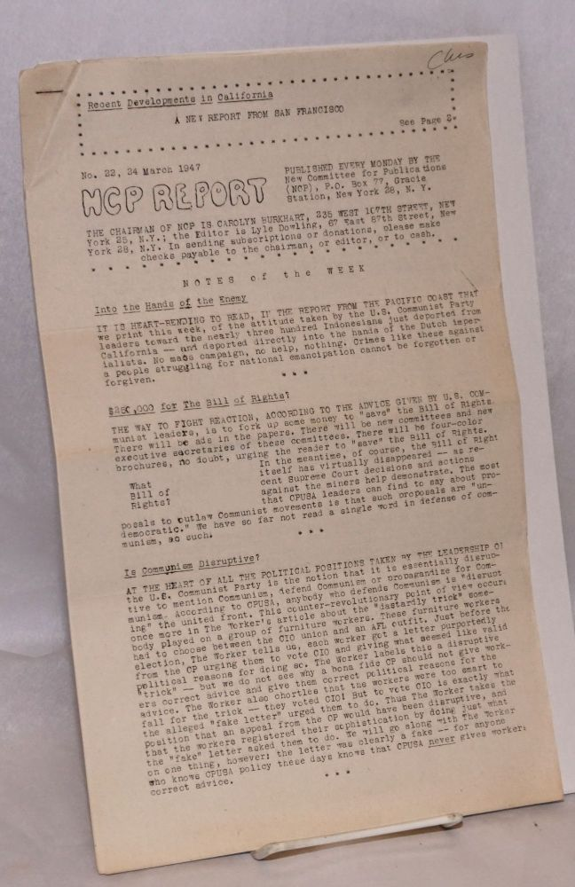 NCP Report. No. 22 (24 March 1947) A new report from San Francsco