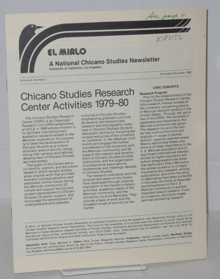 El Mirlo: Chicano Studies Research Center Newsletter, University of California, Los Angeles, volume 8, number 2, November-December 1980