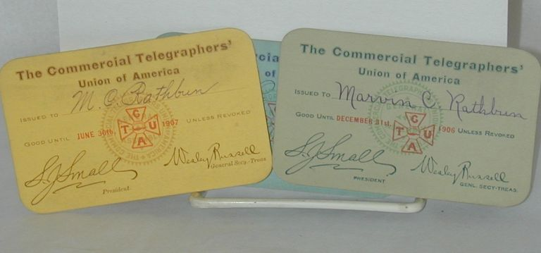 Three union cards. Commercial Telegraphers' Union of America.
