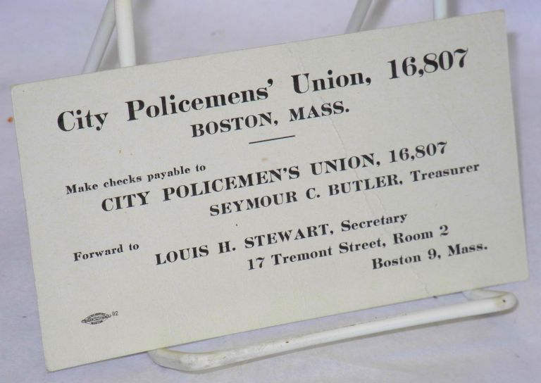 [Fund solicitation card]. 16 City Policemen's Union, 807.