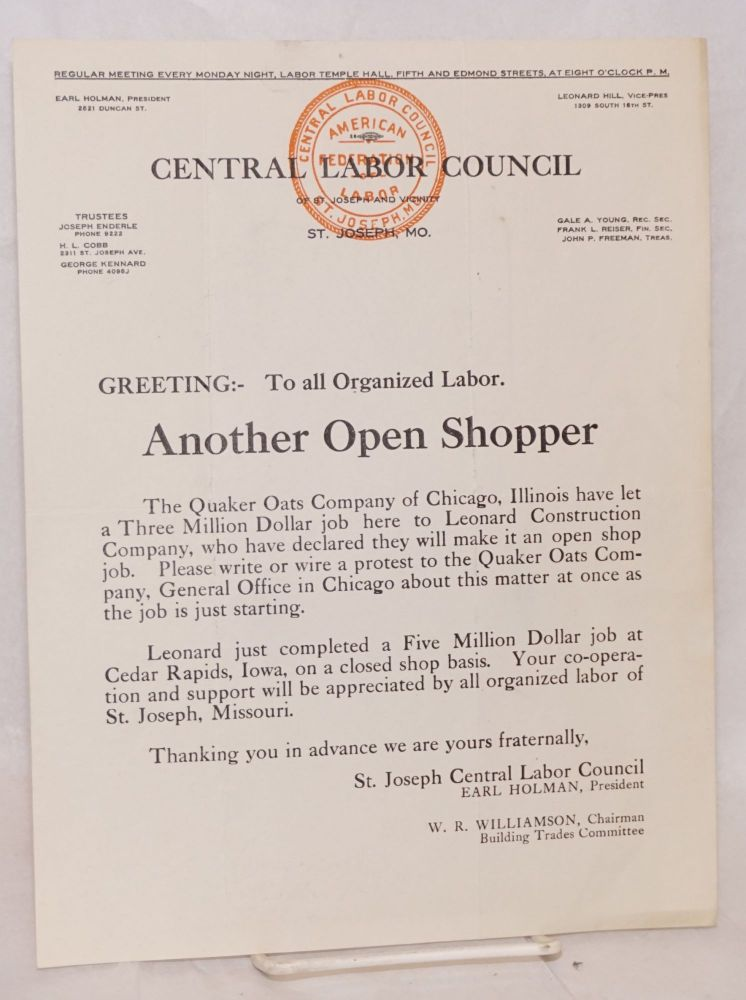 Greeting: To all organized labor. Another Open Shopper [handbill]. Central Labor Council of St. Joseph and Vicinity.