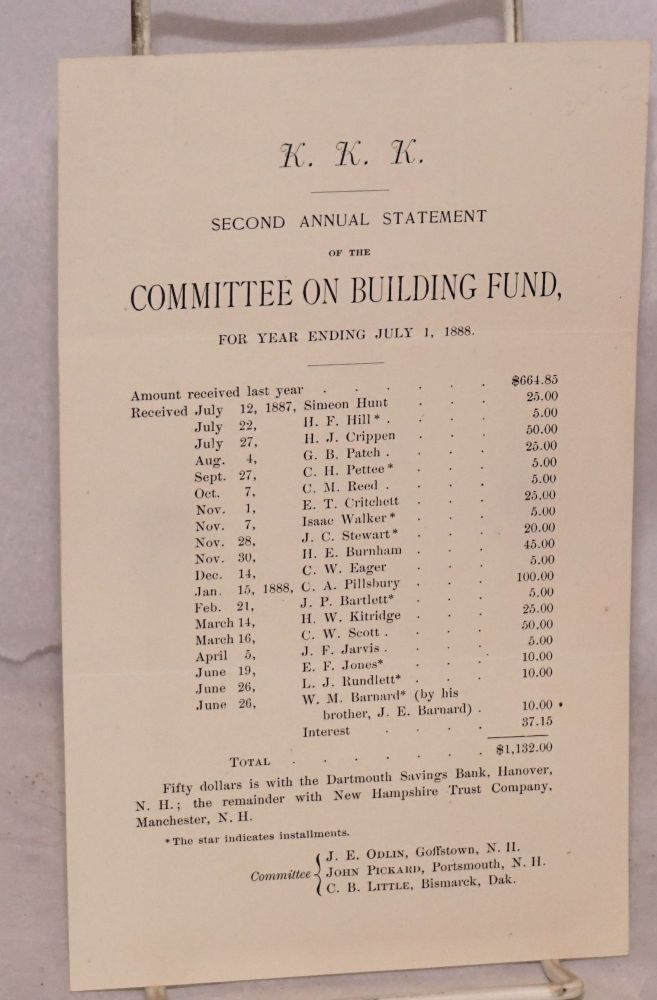 KKK Second annual statement of the Committee on Building Fund, for year ending July 1, 1888. Kappa Kappa Kappa.