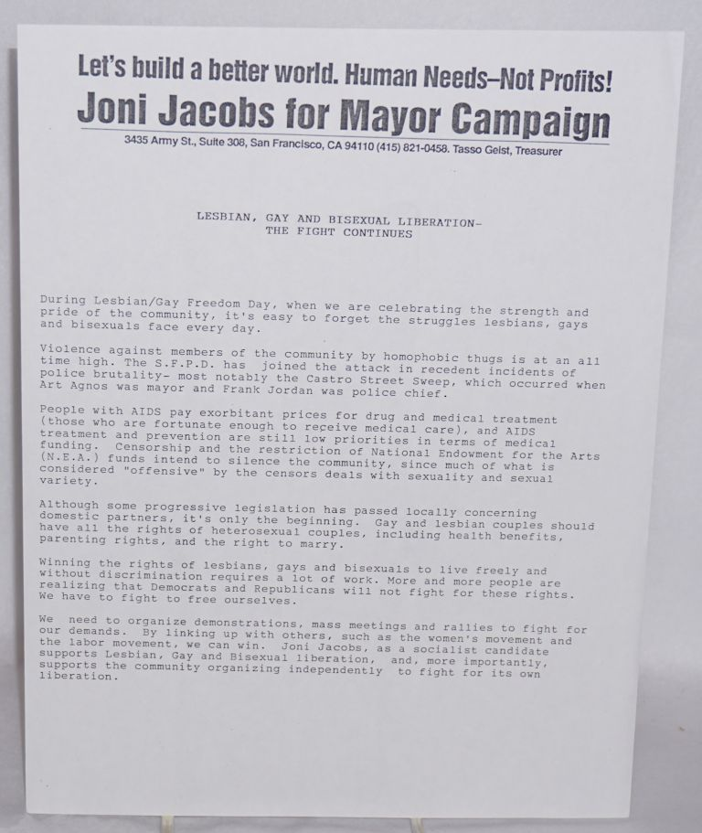 Lesbian, Gay and Bisexual Liberation - the fight continues [handbill]. Joni Jacobs for Mayor Campaign.