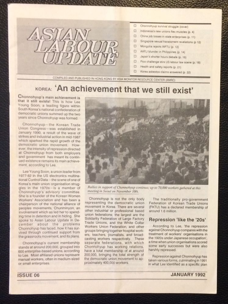 Asian Labour Update Issue 6 (January 1992)