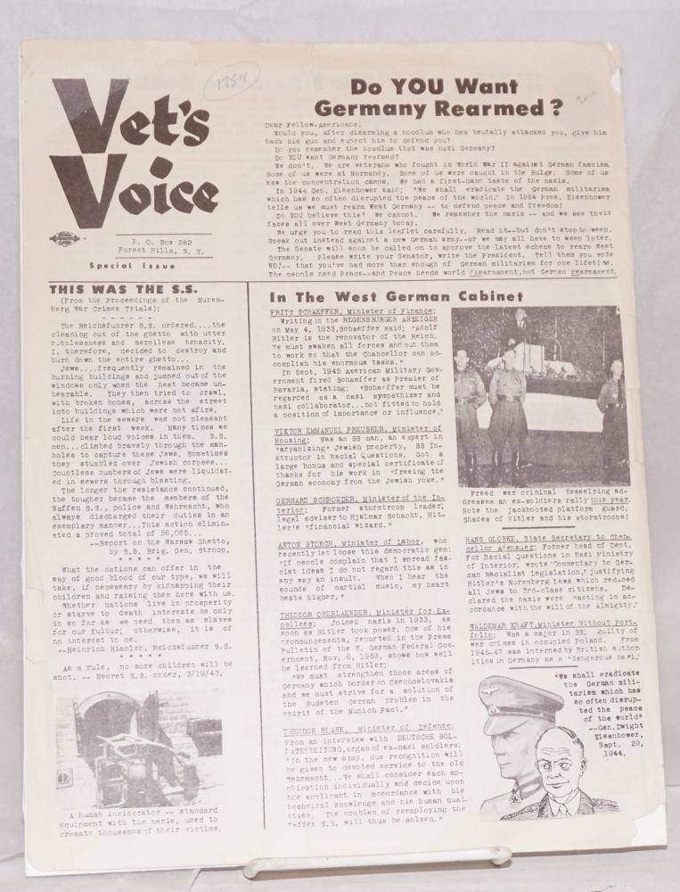 Vet's Voice. Special issue. Do you want Germany re-armed?