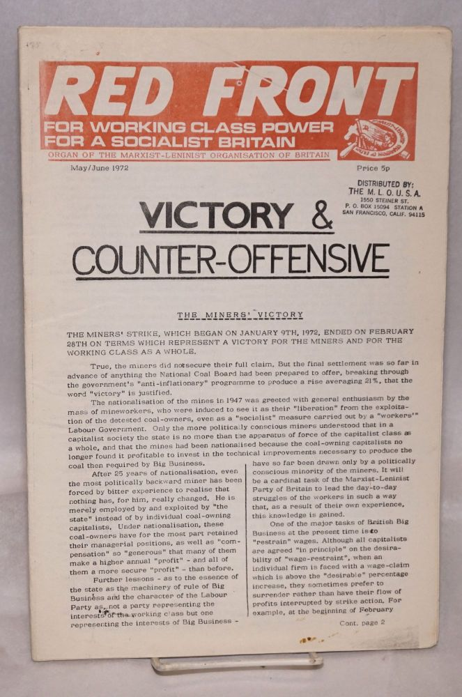 Red Front. May/June 1972. Marxist-Leninist Organisation of Britain.