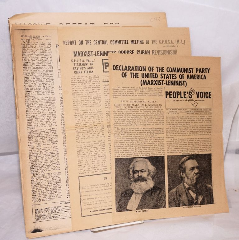People's Voice [eight issues of the newspaper]. Communist Party of the United States of America, Marxist-Leninist.