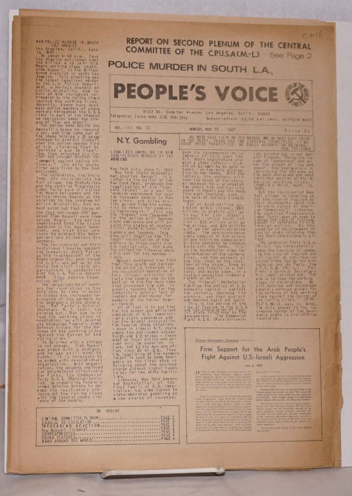 People's Voice [five issues of the newspaper]. Communist Party of the United States of America, Marxist-Leninist.