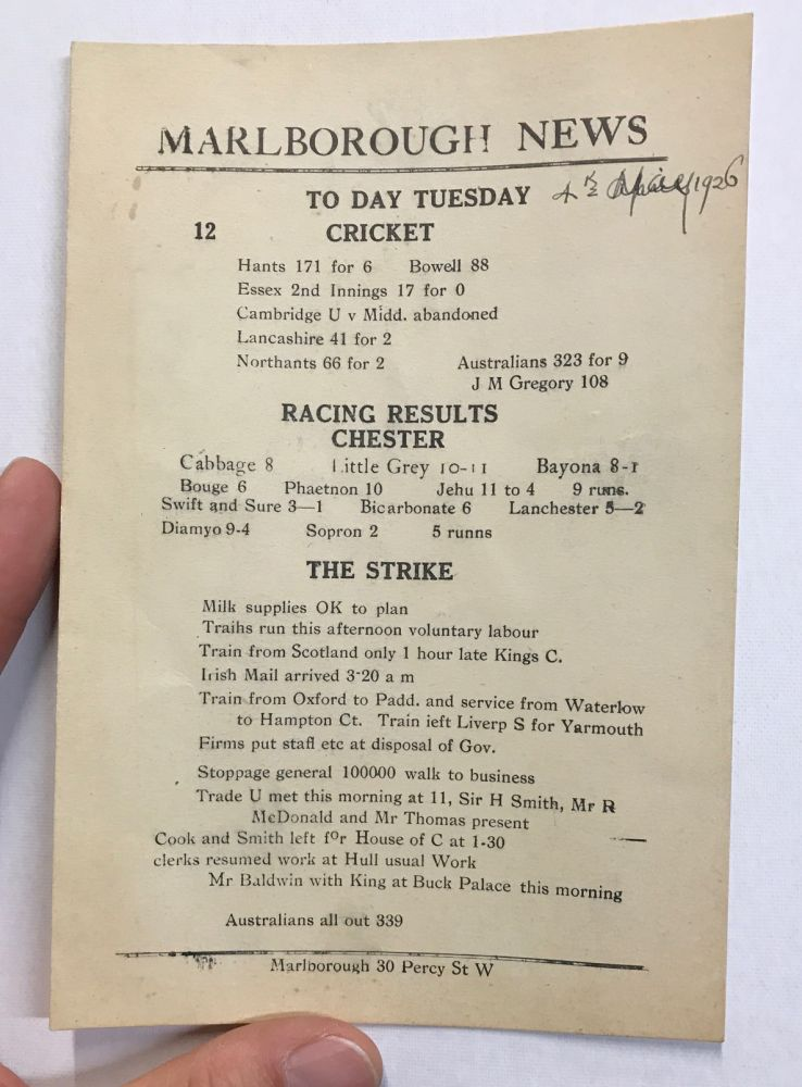 Marlborough News [May 4, 1926 special issue printed on a card due to the general strike]