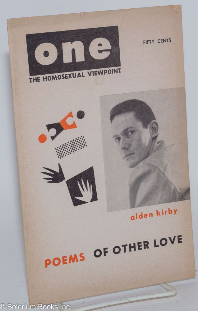 One; the homosexual viewpoint; volume five, number 8, October-November 1957. Ann Carll Reid, , Don Slater, Lyn Pedersen, Shoji Umo, Alden Kirby.