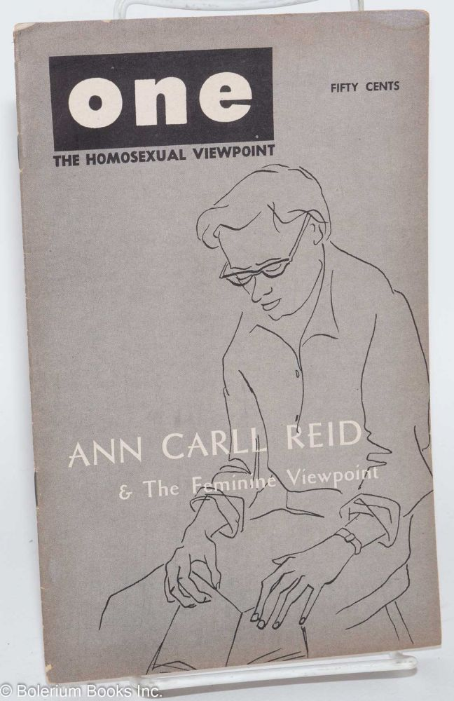 One; the homosexual viewpoint; volume five, number 9, December 1957. Ann Carll Reid, Don Slater, Lyn Pedersen.