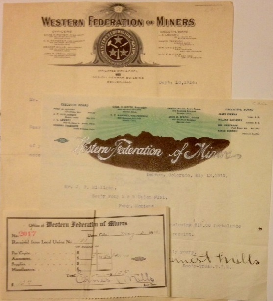 [Three items related to the Pony, Montana local of the Western Federation of Miners]. Ernest Mills.