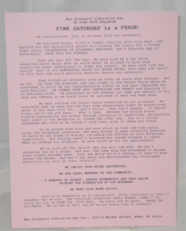 In Your Face Bulletin: Pink Saturday is a Fraud [handbill]. New Stonewall Liberation Day.