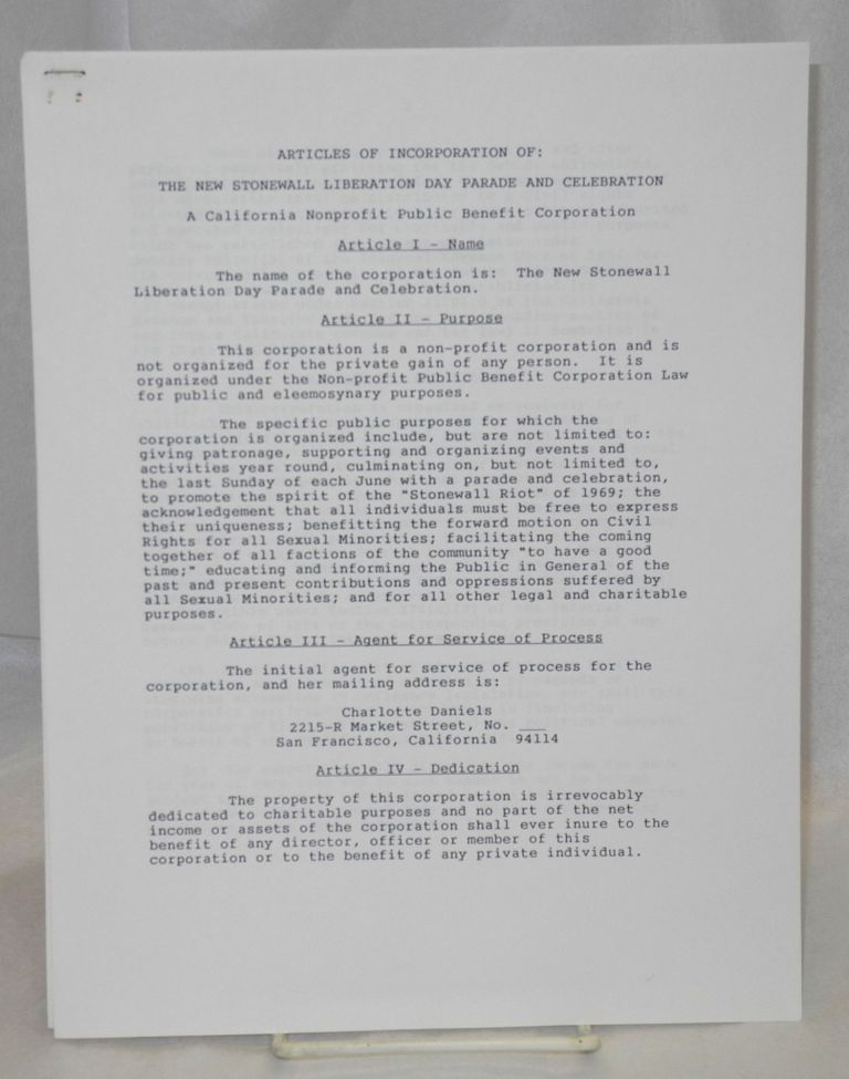 Articles of Incorporation, promotional letter for the 1992 parade, and a related leaflet: [three items]. New Stonewall Liberation Day.
