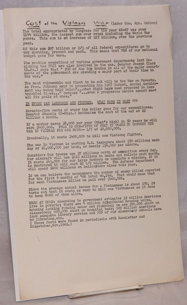 Cost of the Vietnam War [handbill]. Spring Mobilization Labor Committee.