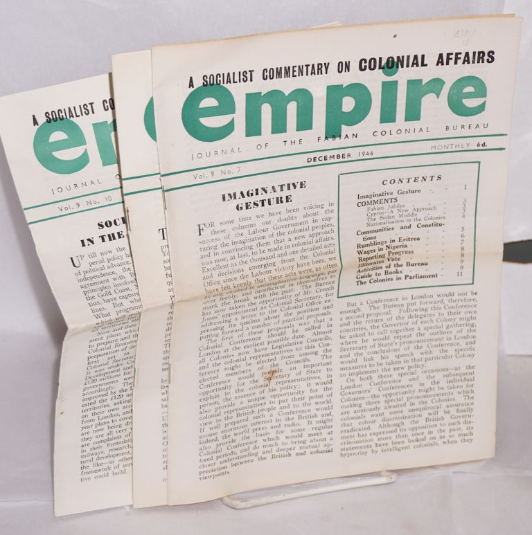 Empire: journal of the Fabian Colonial Bureau [three issues]