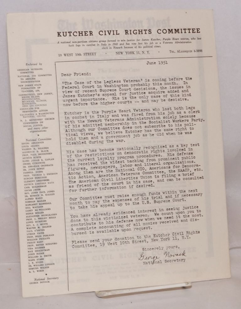 [Two items]. Kutcher Civil Rights Committee. Southern California.