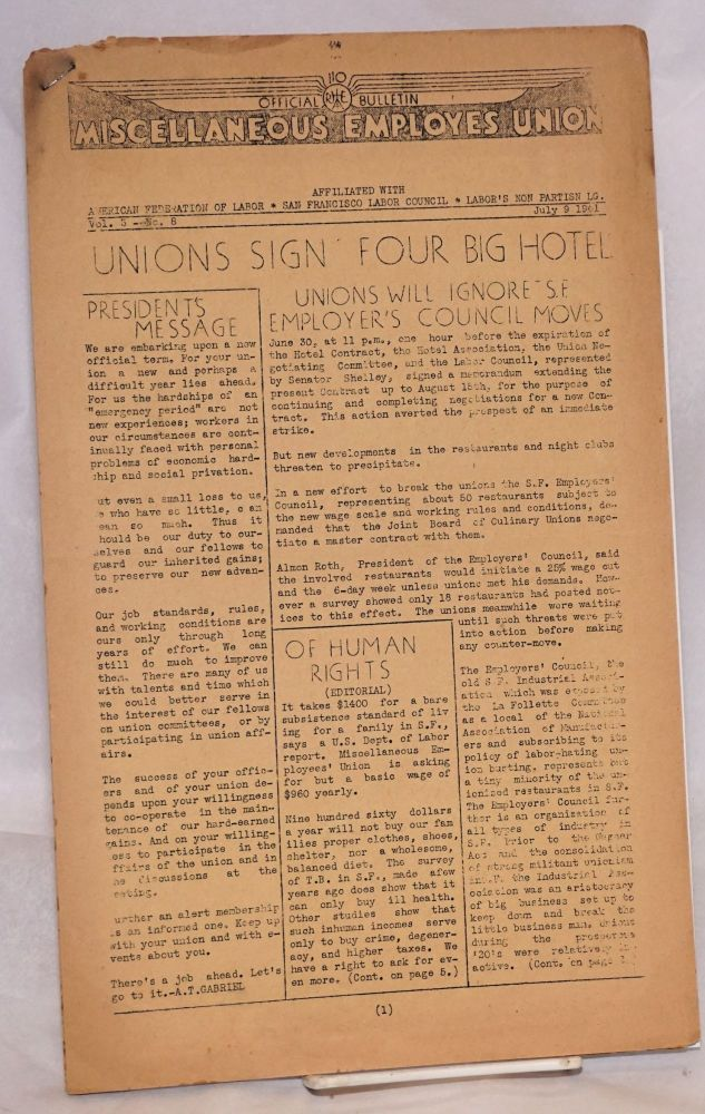 "Official Bulletin. Vol. 3 no. 8 (July 9, 1941). Miscellaneous Employes Union, ""Employes"" sic."