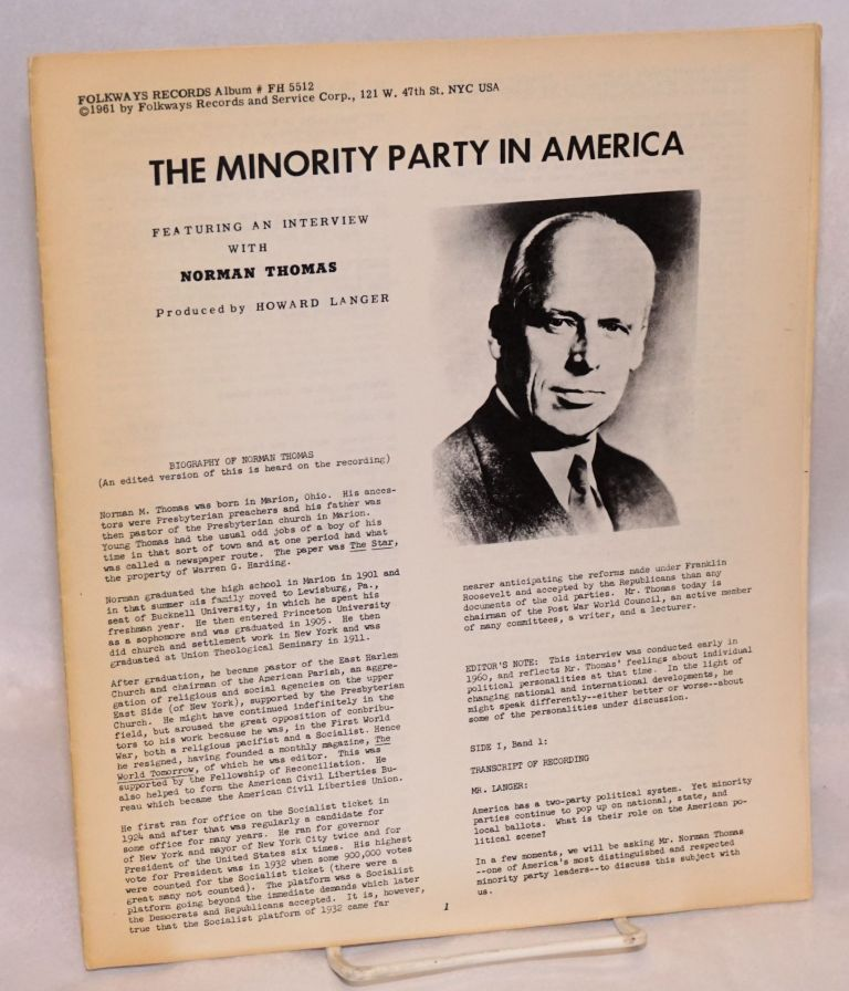 The minority party in America. Norman Thomas, Howard Langer.
