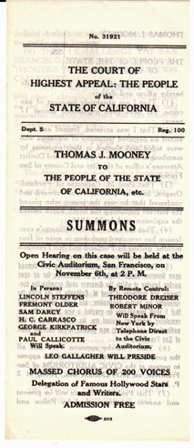 The court of highest appeal: the People of the State of California. Thomas J. Mooney to the People of the State of California, etc.: SUMMONS. Tom Mooney.