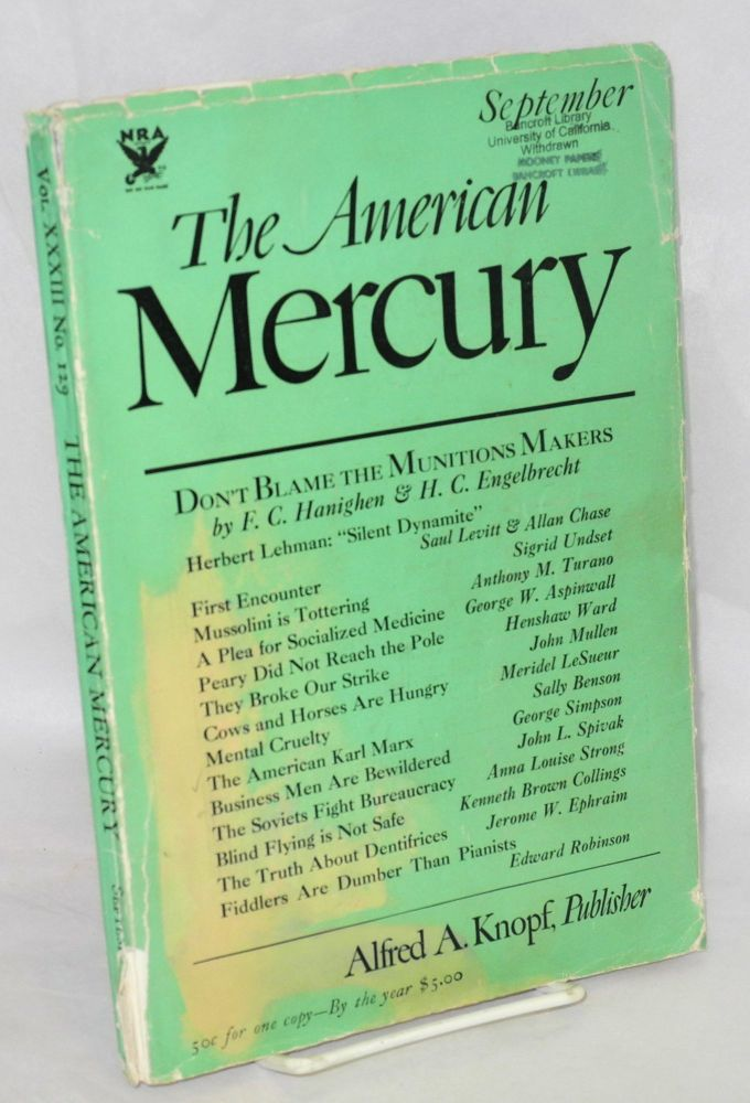 """Cows and Horses Are Hungry"" [story in] The American Mercury Vol. XXXIII No. 129 September 1934. Meridel LeSueur."