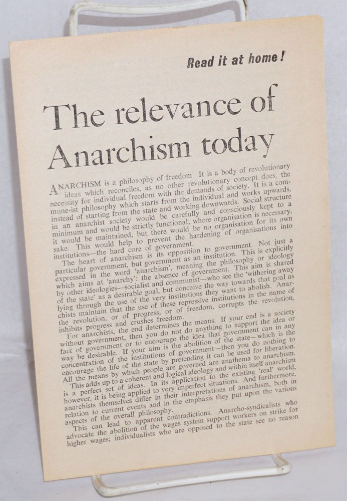 The relevance of Anarchism today