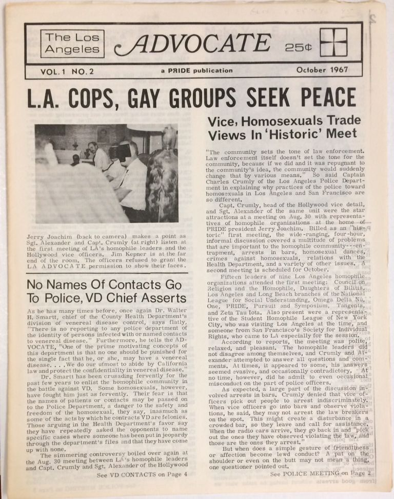 The Los Angeles Advocate; vol. 1, #2, October 1967. Dick Michaels, , Nelson Chuang, Steve Ginsberg, Jim Kepner.