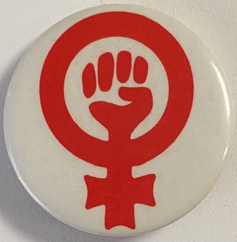 [Woman Power pinback button]