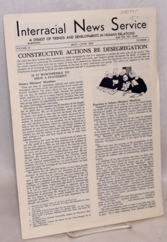 Interracial news service: a digest of trends and developments in human relations, volume 29, number 3, May-June 1958