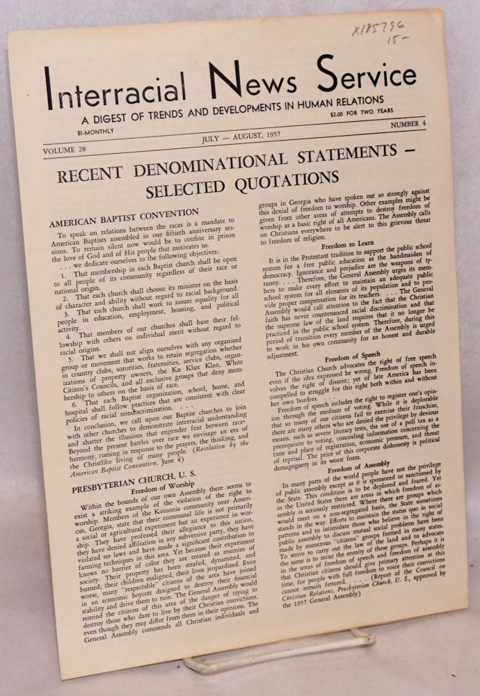 Interracial news service: a digest of trends and developments in human relations, volume 28, number 4, July-August 1957