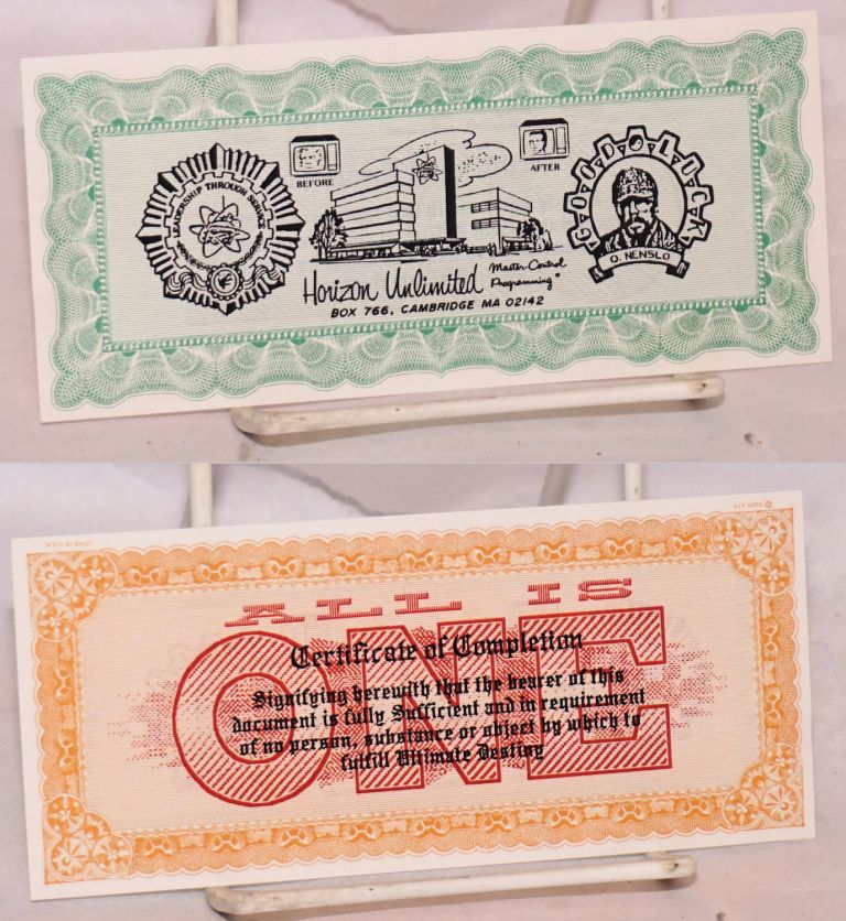 Certificate of completion / All is ONE [parody currency]. Orton Nenslo.
