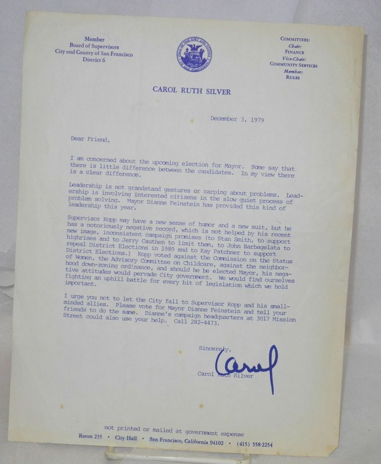 Letter in support of Dianne Feinstein's run for Mayor December 3, 1979. Carol Ruth Silver.