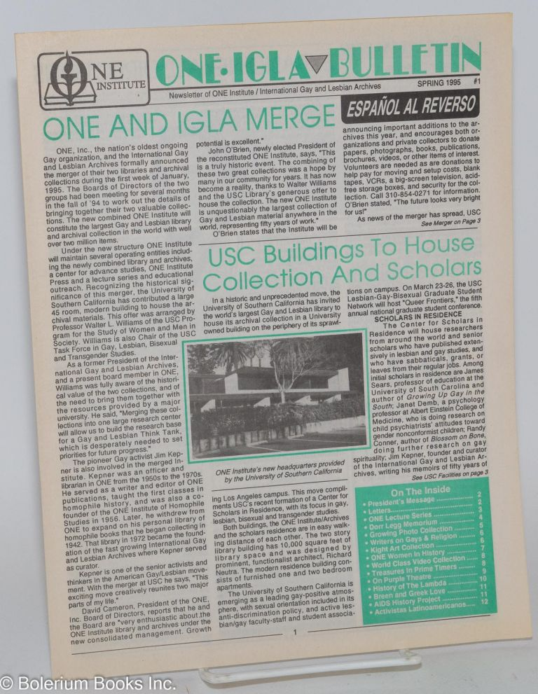 One IGLA bulletin; newsletter of the ONE Institute/International Gay and Lesbian Archives #1, Spring 1995