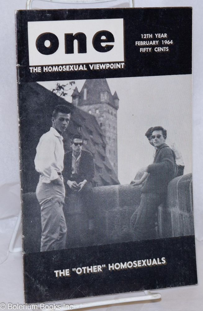 One magazine; the homosexual viewpoint; volume twelve, number 2, February 1964. Don Slater, , Stratton Ashley, Cecil de Vada.