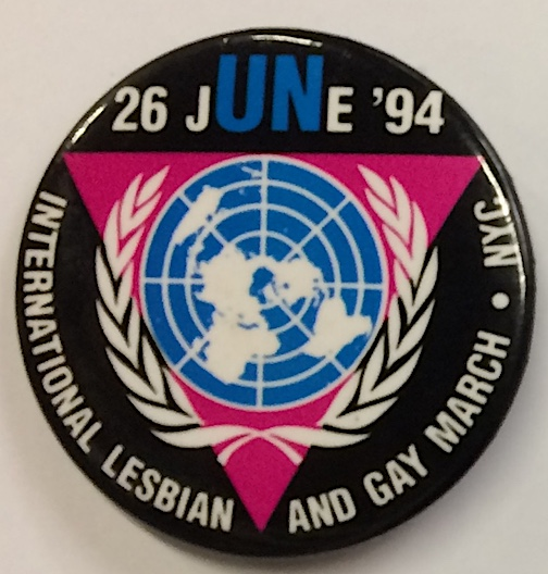 26 June '94 / International Lesbian & Gay March [pinback button]