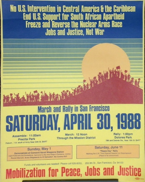 March and rally in San Francisco Saturday, April 30, 1988 [poster]. Jobs Mobilization for Peace, and Justice.