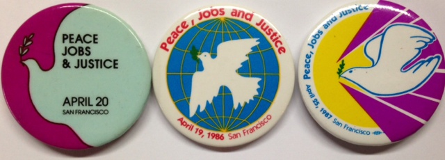 Peace, Jobs, and Justice [three pinback buttons]. Jobs Spring Mobilization for Peace, and Justice.