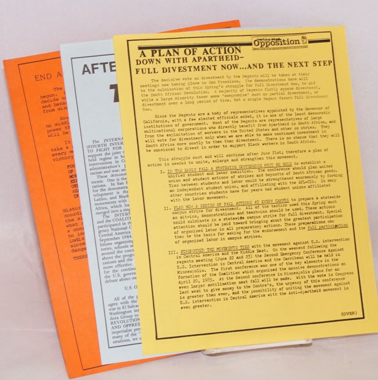 [Four handbills related to efforts to get the University of California to divest from South Africa]. Internationalist Workers' Party, Fourth International.