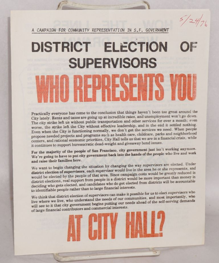 District election of supervisors: Who represents you at City Hall?