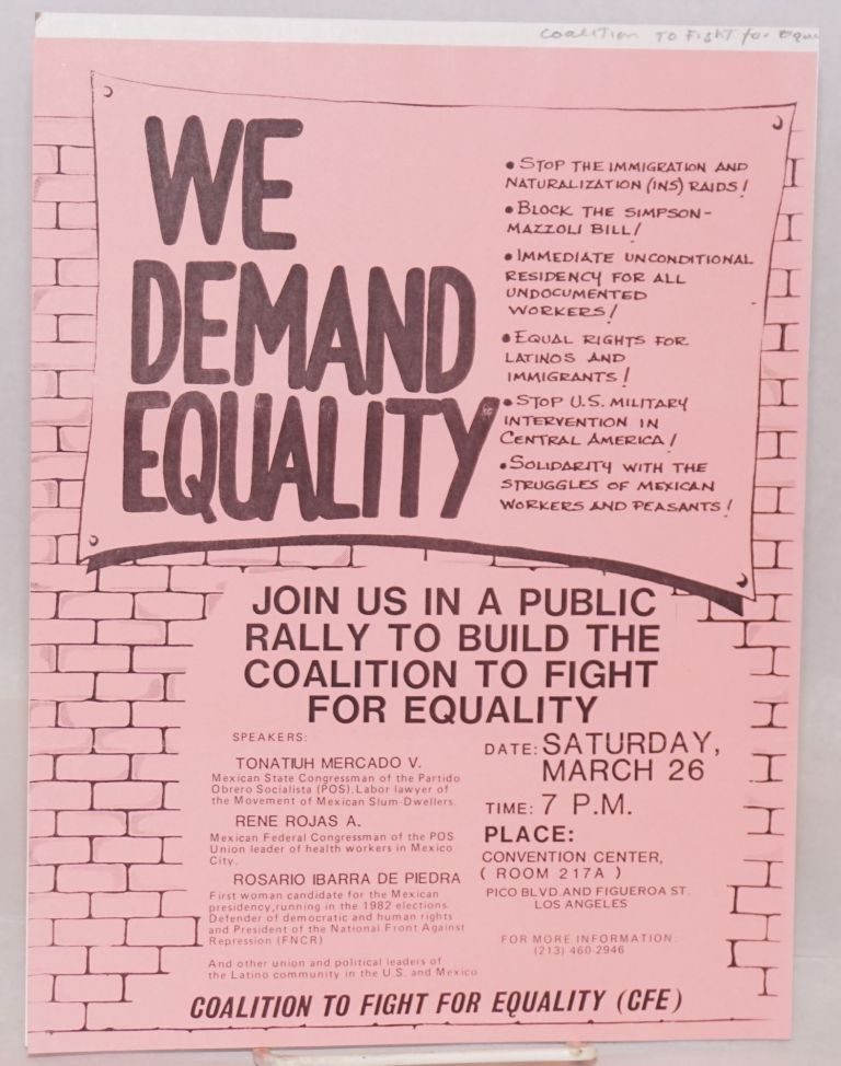 We Demand Equality [handbill]. Coalition to Fight for Equality.
